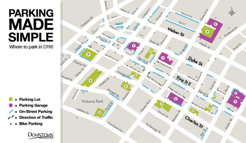 Parking map of Downtown Kitchener